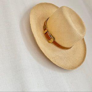 Vintage Happy Cappers Straw Sun Hat  belt buckle M